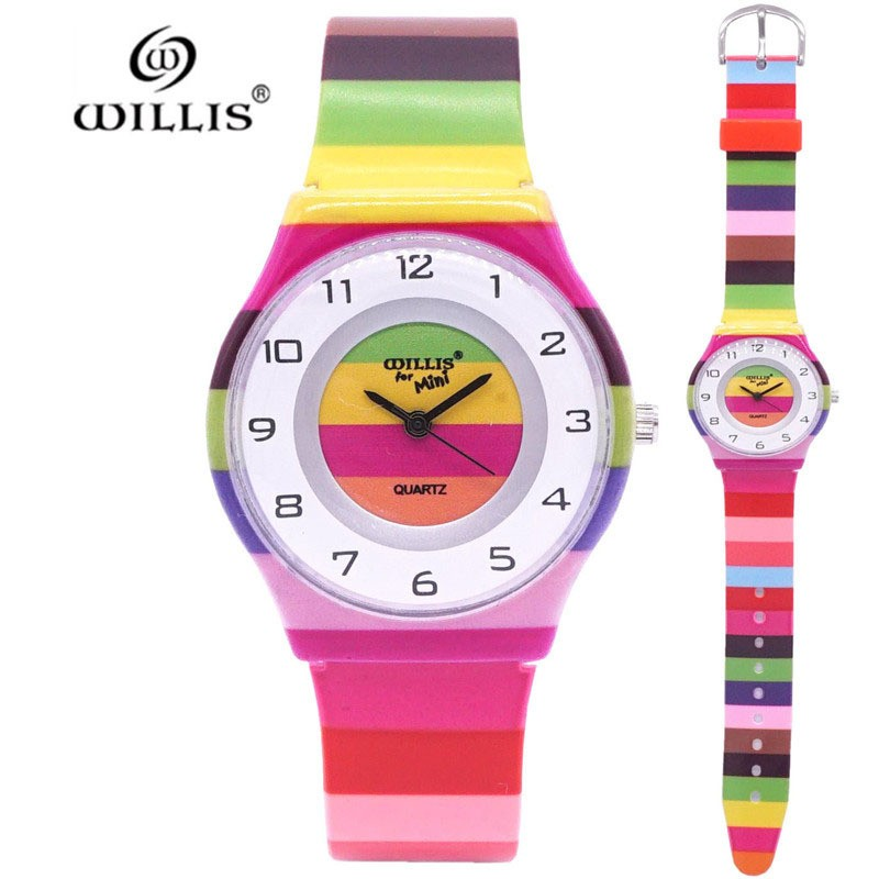New Arrival Women Brand Elegant Rainbow Floral Kids Watch Quartz Wristwatch Silicone Girls Ultra Thin Harajuku Watches Relogio