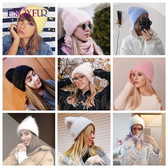 ENJOYFUR Winter hats for women warm long rabbit fur hair female caps fashion solid colors wide cuff young style beanies 4