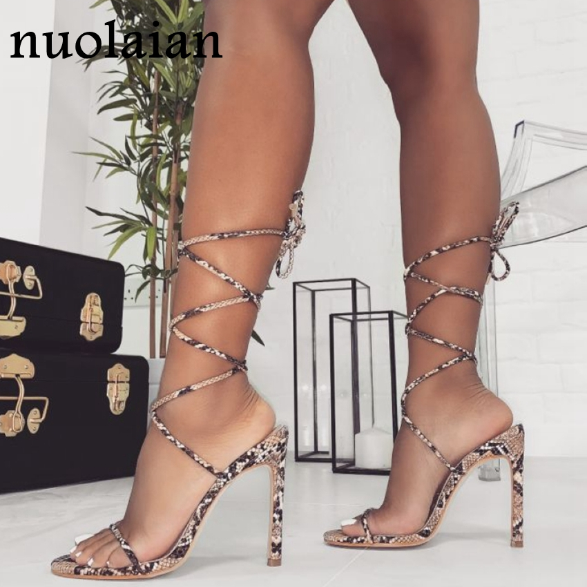 2020 Womens Leather Party High Heel Shoes Woman Summer Pumps Ladies Platform Chaussure Gladiator High Heels Pump Shoe 11CM