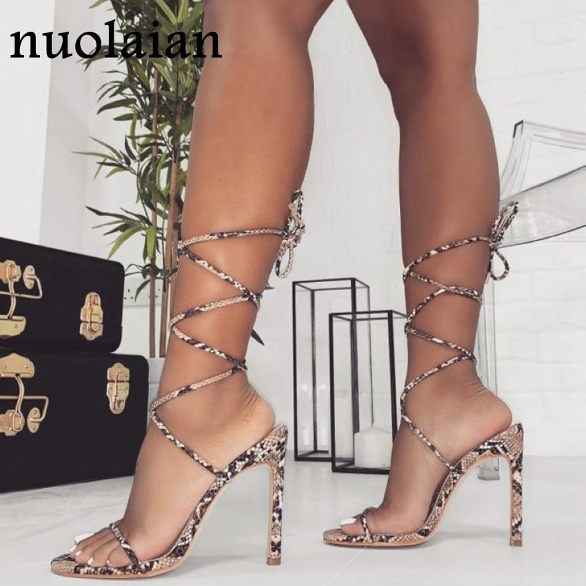 2020 Womens Leather Party High Heel Shoes Woman Summer Pumps Ladies Platform Chaussure Gladiator High Heels Pump Shoe 11CM