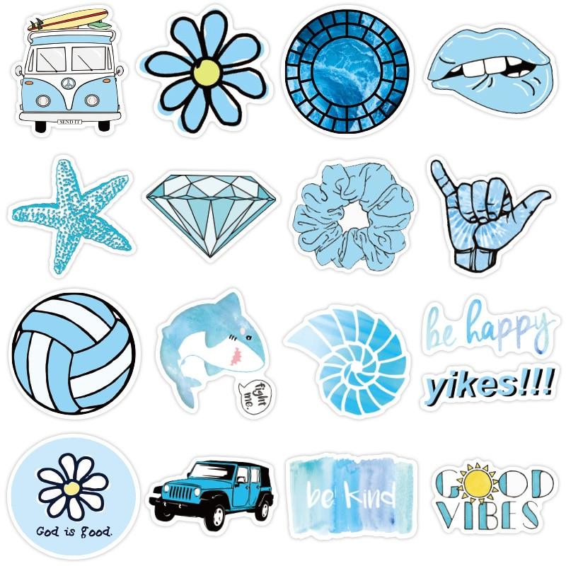 50 PCS Cartoon Blue VSCO Stickers for Chidren Toy Waterproof Sticker To DIY Suitcase Laptop Bicycle Helmet Car Decals
