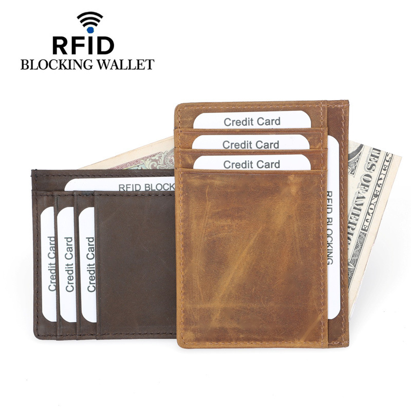 Genuine Leather Credit Card Holder RFID Vintage Wallet Cow Antitheft Rfid Blocking Pass Port