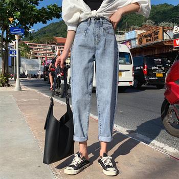 Vintage niebieskie dżinsy kobieta wysokiej talii dżinsy Plus rozmiar Jean Femme luźne Harem dżinsy dla mamy dorywczo spodnie jeansowe Vaqueros Mujer tanie i dobre opinie GUUZYUVIZ COTTON Pełnej długości CN (pochodzenie) Wieku 16-28 lat bai jia hao 1411 WOMEN Pani urząd Plaid Przycisk fly