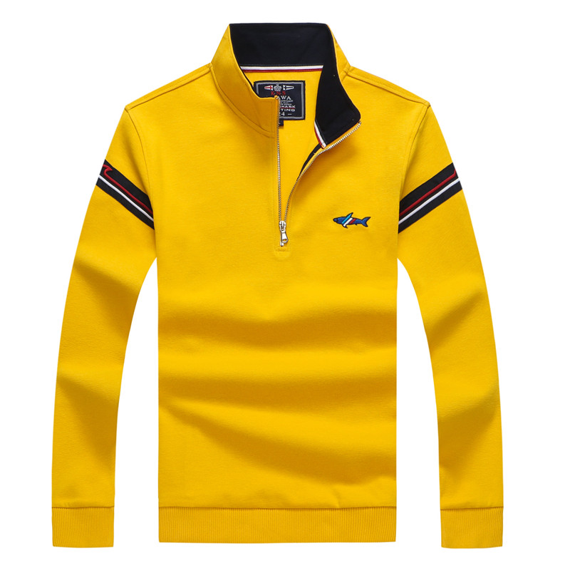 Tace & Shark Brand Sweater Men Orange Yellow White Black Navy Stand Collar Half Zipper Knitted Pullovers 2019 Christmas Sweaters