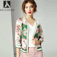 AELESEEN Vintage Runway Floral Bluse Frauen 2019 Herbst Neue Mode Laterne Drei Viertel Sleeve Europäischen Büro Dame Shirt