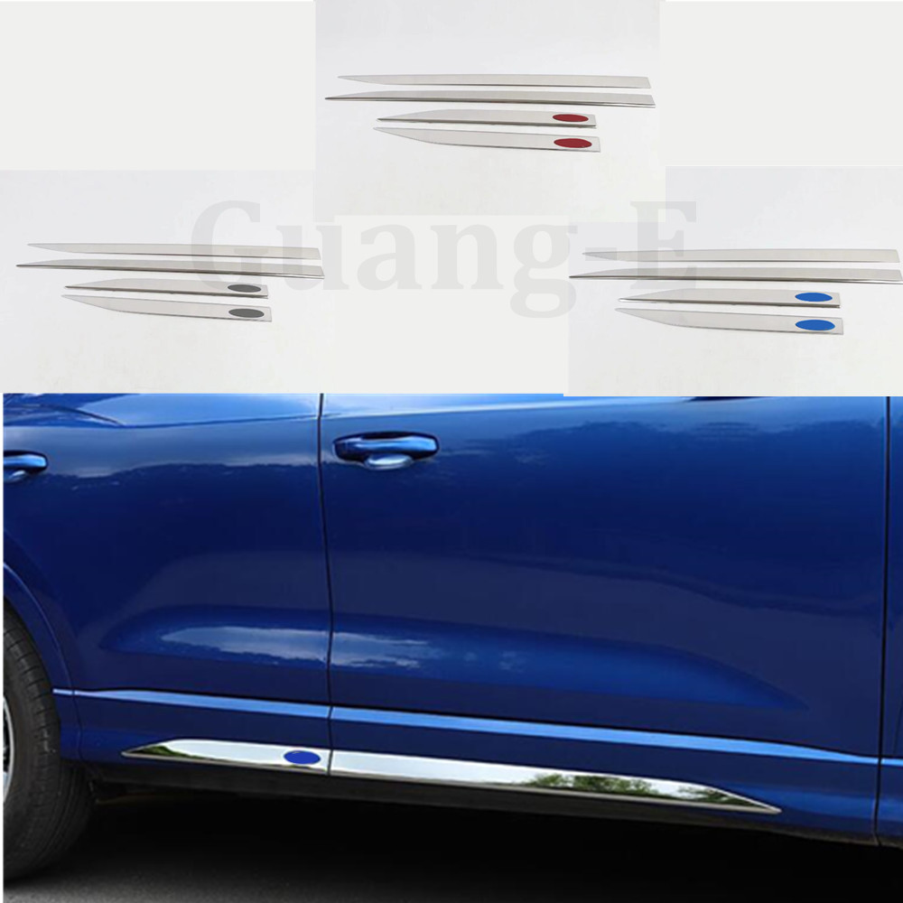 Car Detector Stainless Steel Side Door Body Trim Stick Strip Molding 4pcs For AUDI Q3 F3 2018 2019 2020