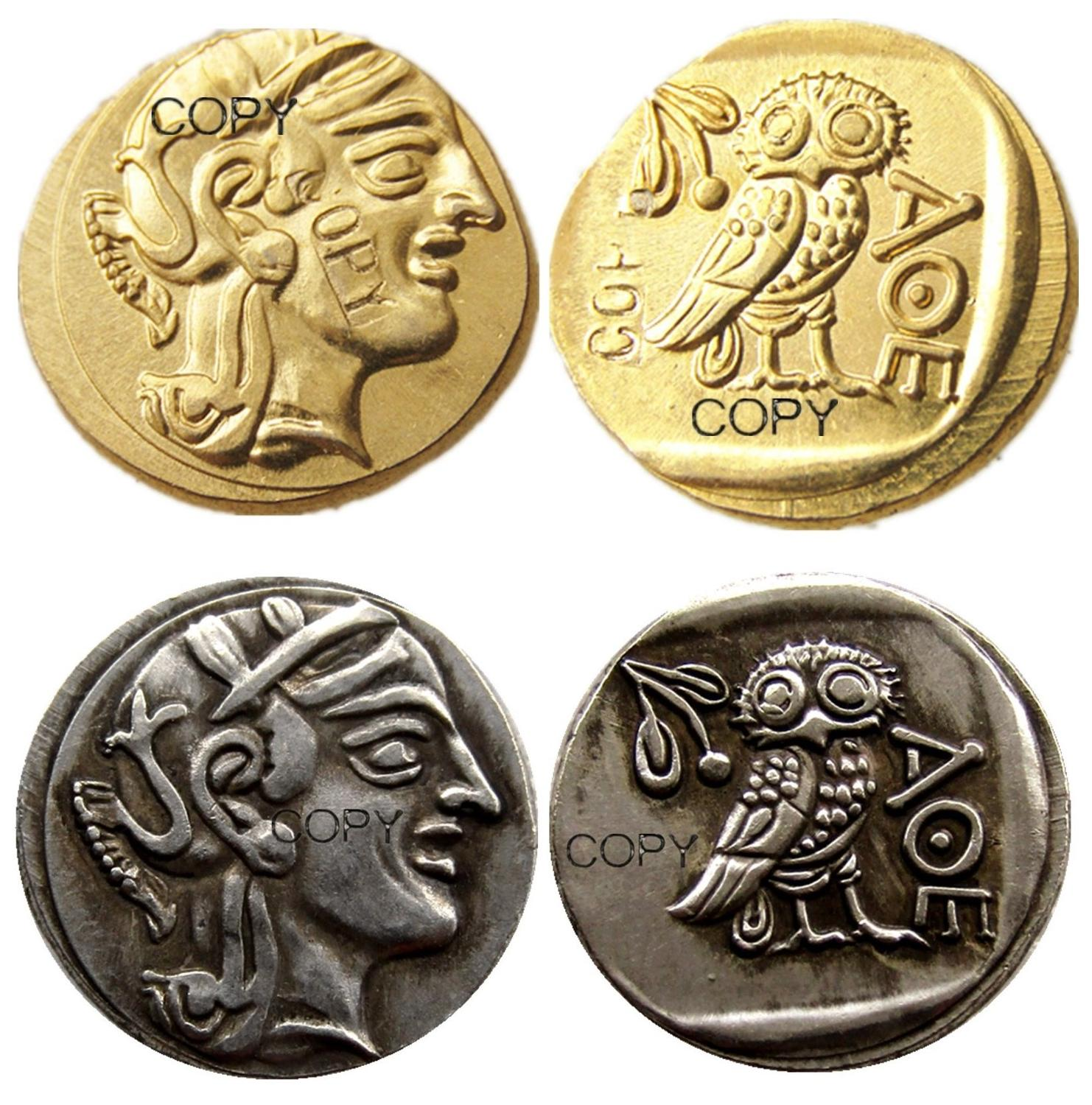 G(02)Ancient Athens Greek gold Drachm - Atena Greece Owl Drachma Gold Plated/Silver Plated copy coins