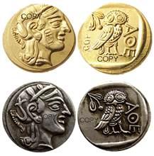 G (02) atenas antiga grego drachm de ouro-atena grécia owl drachma banhado a ouro/banhado a prata moedas de cópia