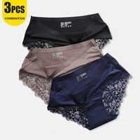 Hot Sale Mesh Panties Set Women Lace Underwear Sexy Plus Size Erotic Lingerie Female Mid-Rise Silky Panties Intimates Briefs