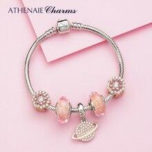 ATHENAIE Authentische 925 Sterling Silber Rosa Planet Charms Armband mit CZ Charme Perlen für Frauen Valentinstag Geschenk Farbe rosa