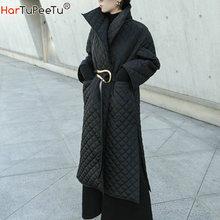الشتاء المرأة سترة سوداء طويلة حجم كبير Argyle سترة السيدات القطن معطف مبطّن الجانب عالية انقسام ضوء فام رداء أبلى عباءة