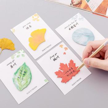 Maple Leaf Ginkgo Print Sticky Note Memo Pad Planner Office School Stationery adhesive N Times sticker Office supplies Material image