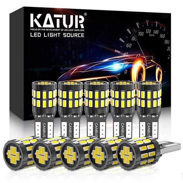 Katur 10Pcs T10 LED Canbus W5W LED Bulb Auto Lamp 3014 30SMD Car Interior Light 194 168 Light Bulb White Red Yellow No Error 12V