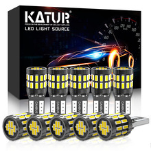 Katur 10Pcs T10 Led Canbus W5W Led Lamp Auto Lamp 3014 30SMD Auto Interieur Licht 194 168 Gloeilamp wit Rood Geel Geen Fout 12V
