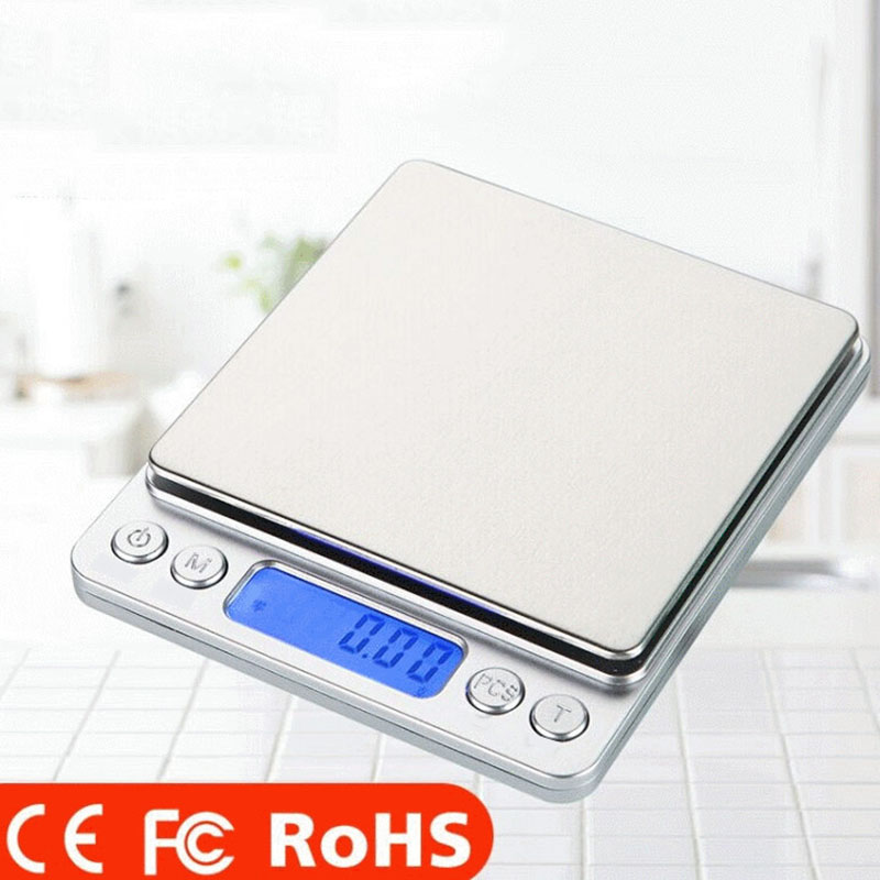 Household Kitchen Stainless Steel Jewelry <font><b>Scale</b></font> <font><b>0.01g</b></font> <font><b>Gram</b></font> Mini Portable Small Electronic Platform <font><b>Scale</b></font> Kitchen Accessories image
