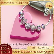 "ATHENAIE 925 סטרלינג כסף רומנטי סגול קסמי צמידים & צמידים עם CZ חרוזים לנשים ""ולנטיין תכשיטי ילדה מתנות"