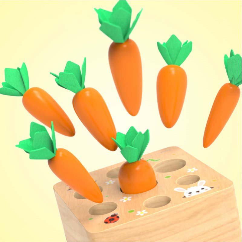 Cute Baby Montessori Toys Wooden Block Set Pulling Carrot Ability Shape Matching Size Cognition Educational Toy For Children