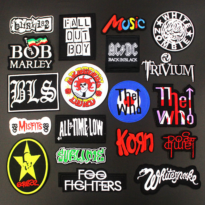 Fashion Cool Rock Band Music Patches Hot Iron On For Cloth Embroidered Badges Sewing DIY Applique Stickers