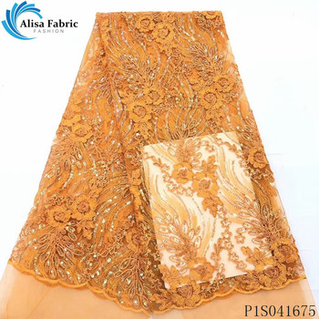 Alisa fashion french net lace fabric 2020 high quality embroidered nigerian tulle fabrics african sequins laces for dress sewing