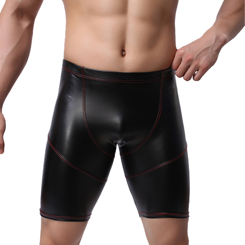 New Mens Leather Shorts Fashion Faux Leather For Male Stage Club Performance Wear Short Underpants
