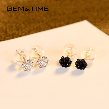 Gem&Time Solid 14K Gold Black Flower Topaz Stud Earrings For Women Black Clear Gemstone Small Earring AU585 Yellow Gold Jewelry