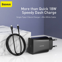 Baseus 18W EU Plug Adapter Charger Type C Quick Charger PD3.0 Fast Charging for Xiaomi for Huawei for Samsung Wall Charging Set