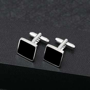 Business Classic Square Geometric Black Copper Men's Cufflinks Luxury Gift Party Wedding Suit Shirt French Cufflinks
