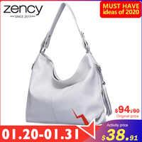 Bolso de hombro elegante Zency para mujer 100% de cuero genuino de moda para mujer bolso de mensajero borlas Charm bolso bandolera blanco negro