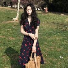 Anbenser-vestidos con Estampado de cereza para Mujer, Vestido Largo informal de manga corta con escote en V y abertura de Estilo bohemio