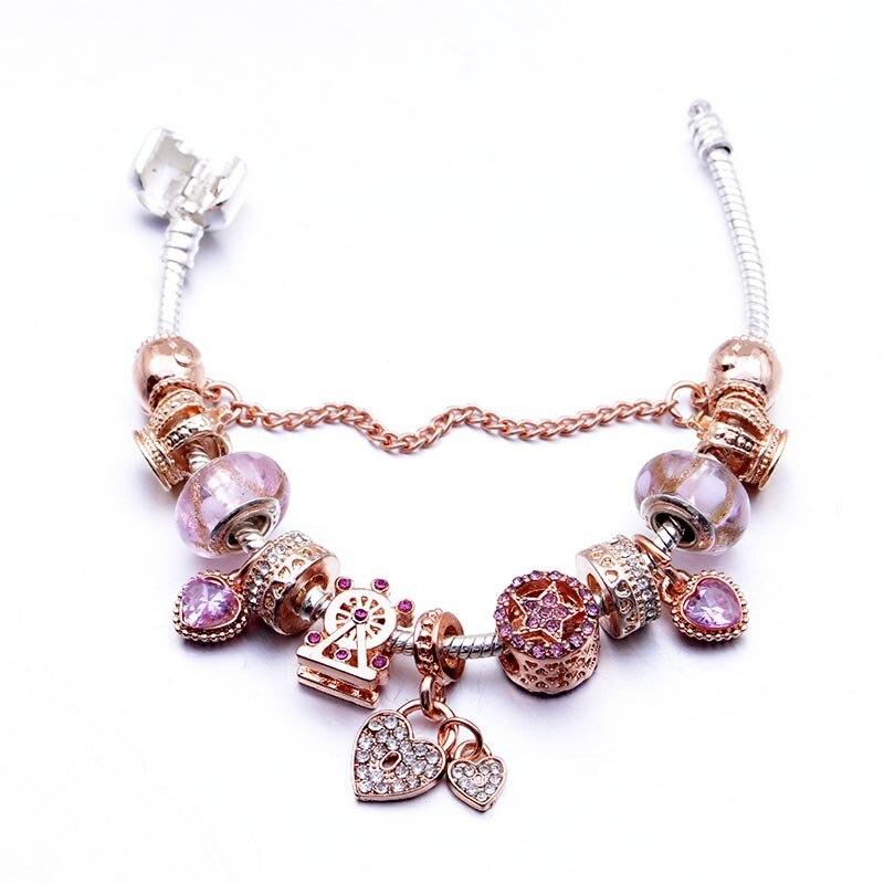 Pulsera de cuentas de cristal Rosa difusa de oro clásico serie Pandora DIY candado de corazón colgante pulsera de aleación