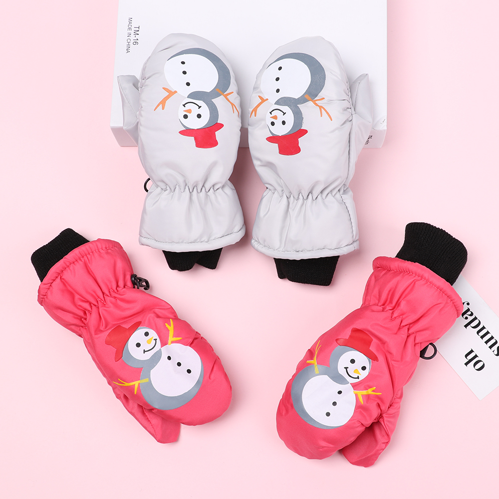1 Pair Children Winter Warm Gloves 1-5 Years Boys Girls Sports Waterproof Windproof Non-Slip Snow Mittens Extended Wrist Gloves