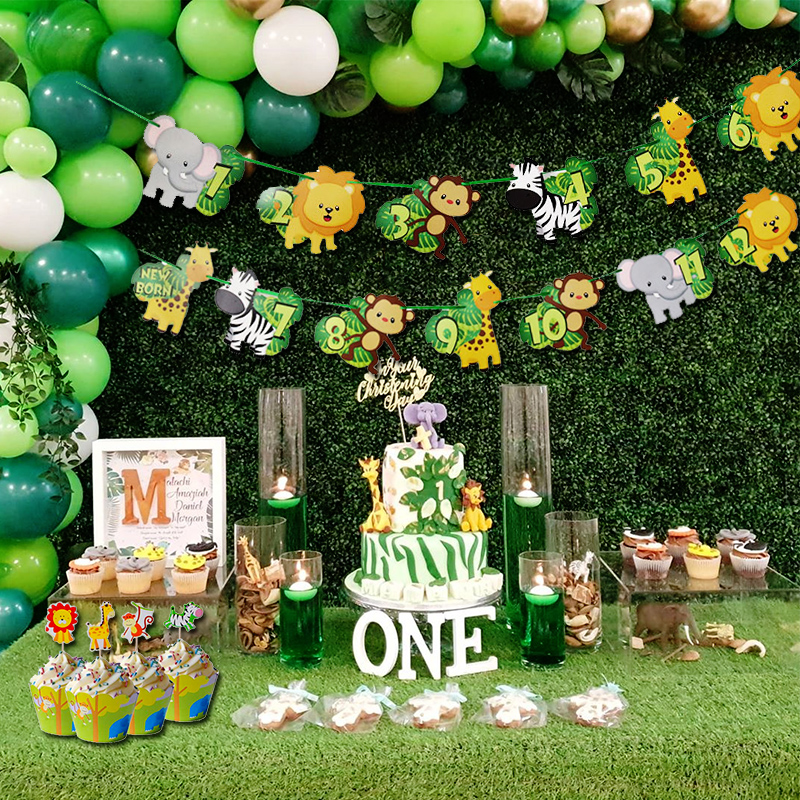 US $1000.10006 1000% OFF1000 10002 Month Photo Banner Jungle Animal Theme 1000st Birthday  Party Jungle Party Decorations Photo Clips One Year Old Party  SuppliesParty