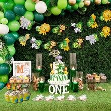1-12 monat Foto Banner Dschungel Tier Thema 1st Geburtstag Party Dschungel Party Dekorationen Foto Clips Ein Jahr Alt partei Liefert