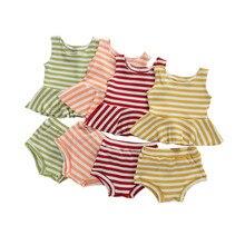 Summer Baby Girls Clothes Set Sleeveless Striped Ruffle Crop Top Shirt Short Pants Set 0-24M