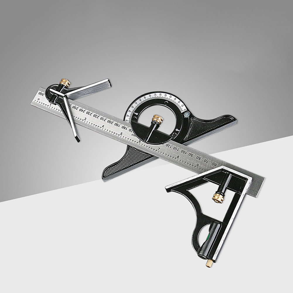 Stainless Steel Multifunctional Ruler Adjustable Sliding Combination Angle Ruler Protractor Level Measuring Tool 180° Protractor