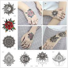 Sexy Mandala kwiat wodoodporna tymczasowa naklejka tatuaż ramię duża szkoła wąż tatuaż naklejki Flash fałszywe tatuaże dla kobiet mężczyzn tanie tanio CD-111 CD-112 CD-113 CD-114