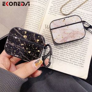 EKONEDA Luxury Glitter Marble Case For Airpods Pro Case Gold Foil Protective Earphone Cover For Airpod Pro Soft TPU Case(China)