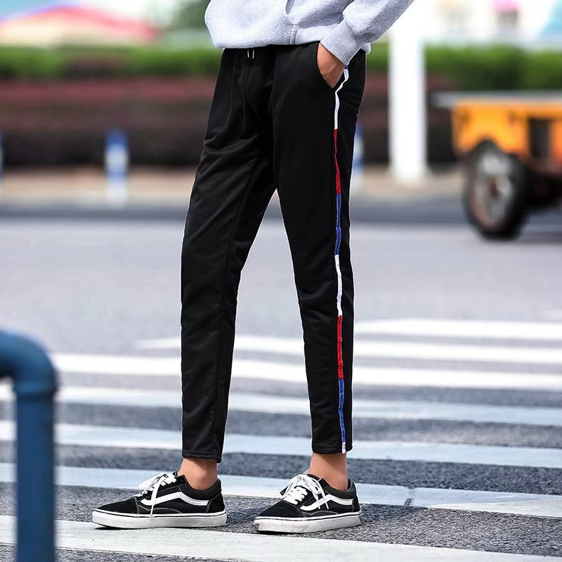 Summer Elasticity Casual Pants Men's Summer Influx Of Black And White With Pattern Youth Trousers Slim Models Lace-up Wei Pants