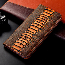 Ostrich-Case Nokia Flip-Cover Plus Genuine-Leather for 1-2-3/5/6/..