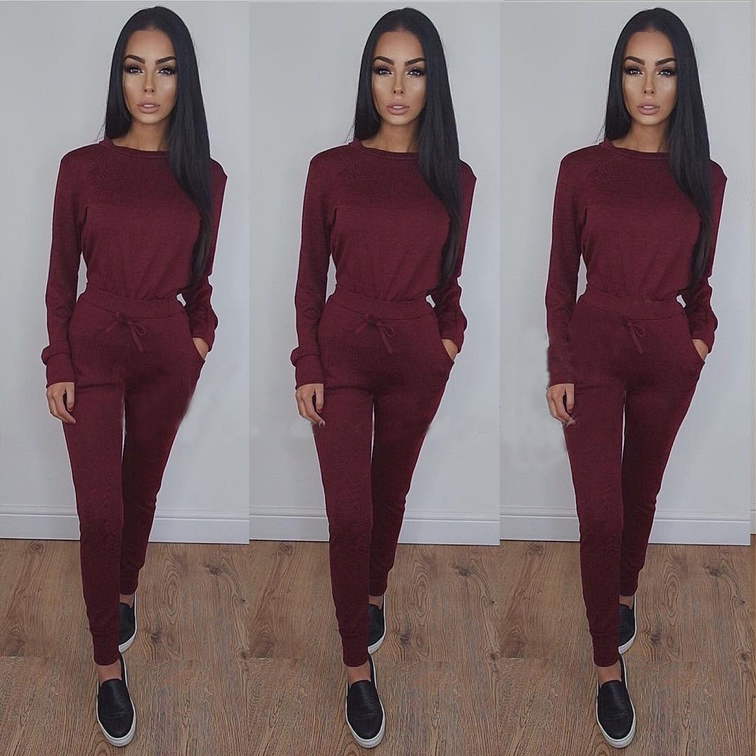 Solid Sex Fashion 2020 New Design Fashion Hot Sale Suit Set Women Tracksuit Two-piece Style Outfit Sweatshirt Sport Wear