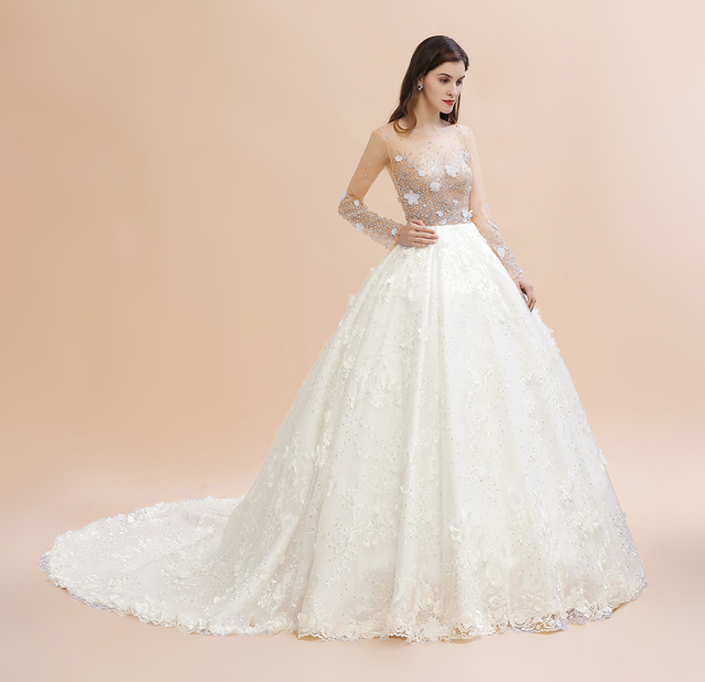 Фото горячая новинка настоящие длинные свадебные платья с хрустальными