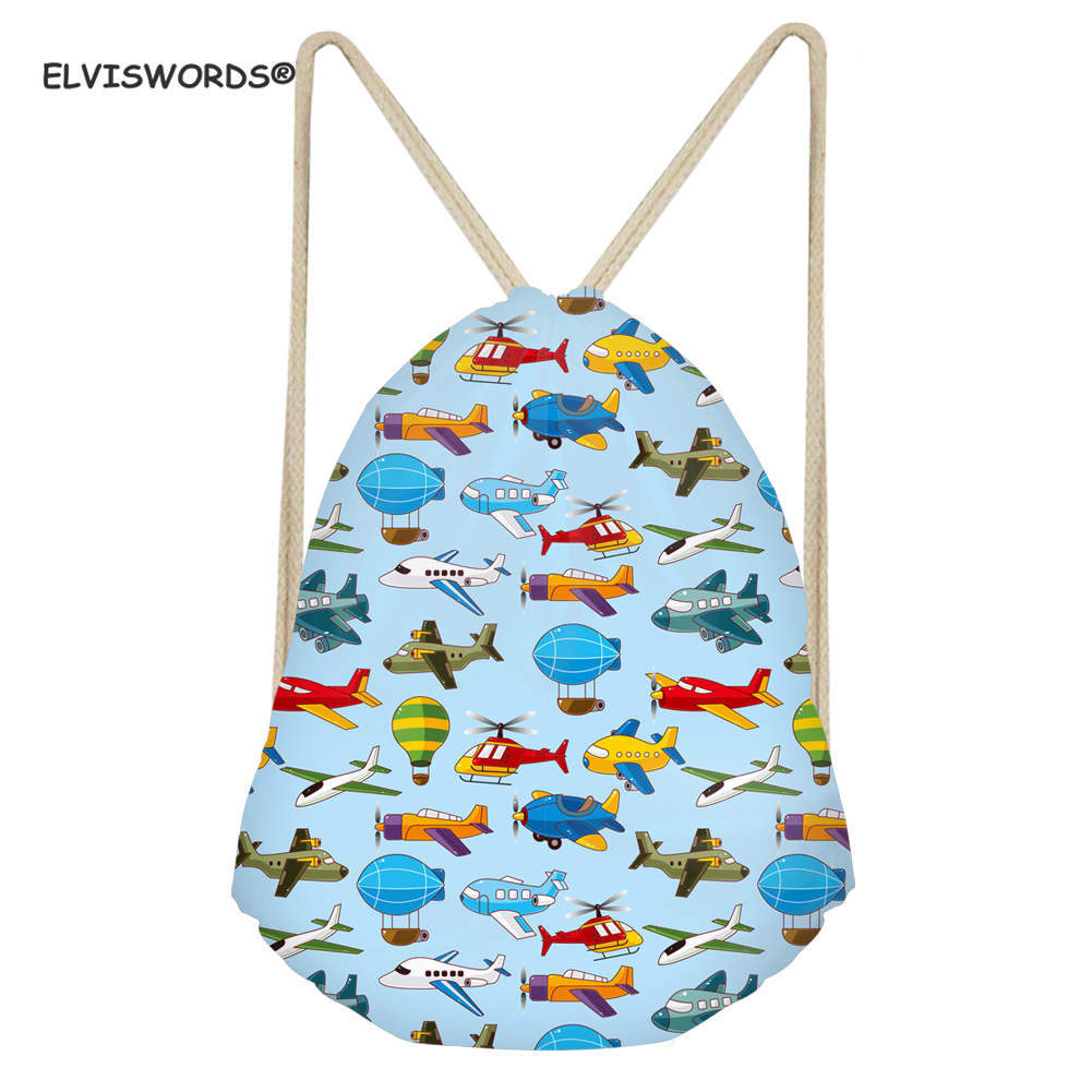 ELVISWORDS Cartoon Toy Printing Drawstring Bag Outdoor Travel Beach Storage Pouch Yoga Gym Swimming String Backpack Custom Bags