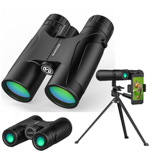 цена Binoculars 12x42 High Powerful HD BAK4 Prism Zoom Handheld Telescope Night vision Military Professional Outdoor Hunting Camping