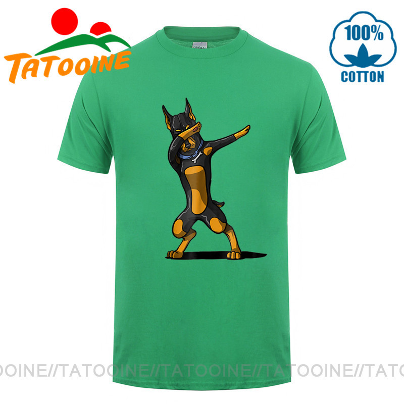 Tatooine Dabbing Doberman T Shirt Men  Funny Doberman Dog Dab T-Shirt Dad Father's Birthday Gift Tee Shirt Fun Dog Lover Clothes