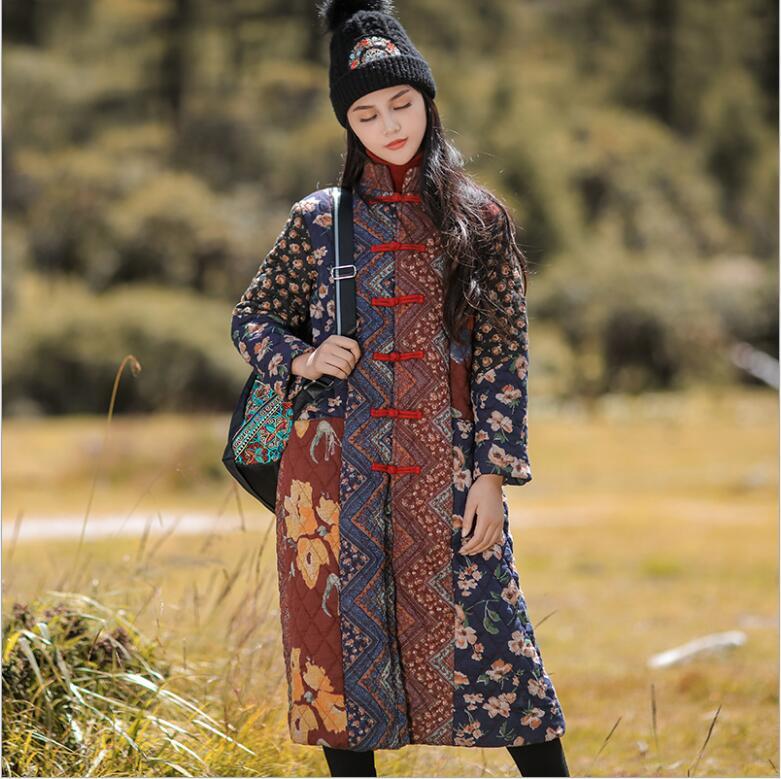 2020 hiver chine style national coton rembourré longue veste femmes décontracté coton vêtements Vintage conception Trench manteau épissage vêtements