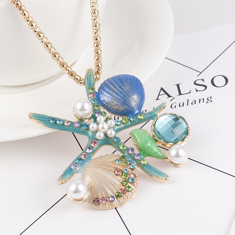 White Pearl Blue Enamel Crystal Shell Conch Starfish Pendant Long Necklace for Women