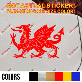Wales Red Dragon Welsh Y Ddraig Goch Decal Sticker Car Vinyl pick size color no bkgrd image
