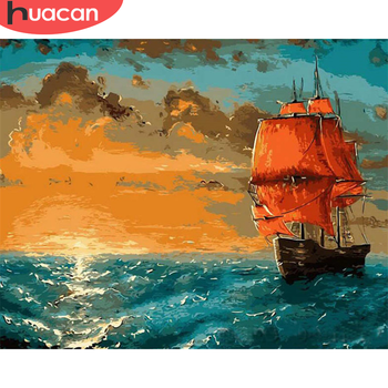 HUACAN Oil Painting By Number Sailboat Hand Painted Paintings DIY Pictures By Numbers Landscape Drawing On Canvas Home Decor