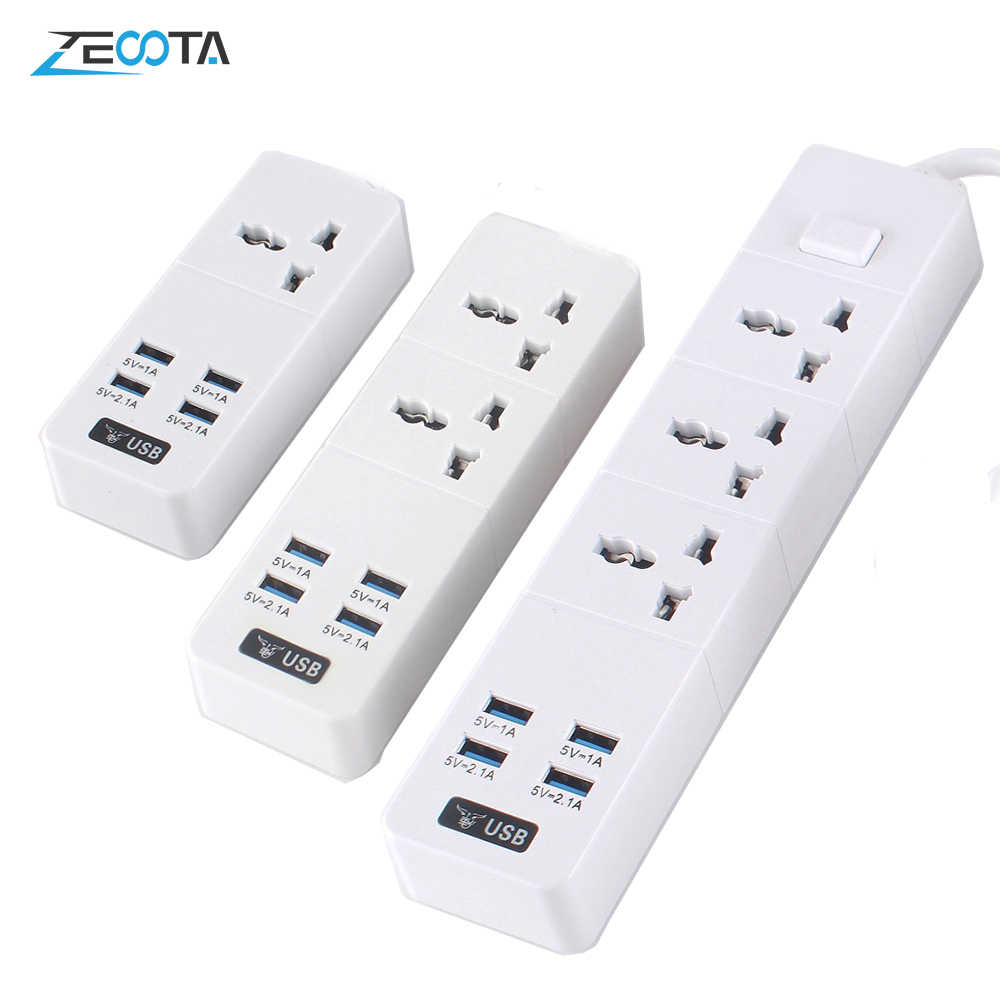 Power Strip 10A/2500W 1/2/3 Ac Socket Eu/Uk/Us Plug 4 Usb Travel adapter Met Schakelaar En 2 M Verlengsnoer Pc Explosieveilige