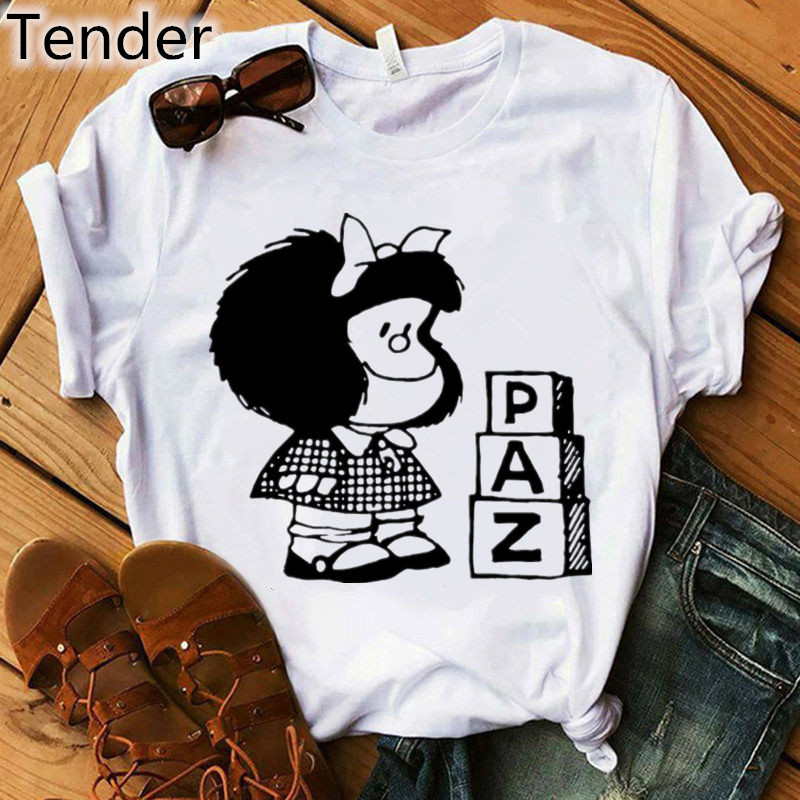 Short Sleeve Cartoon PAZ Mafalda Or QUIERO Cafe Printed Women T-Shirt Kawaii O-Neck Funny T Shirts Women Tops Tee Camiseta Mujer